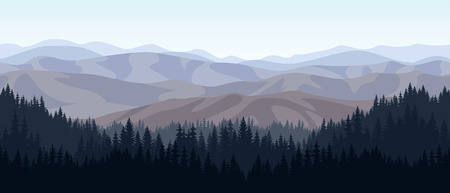 vector rocky mountains forest background texture seamless pattern