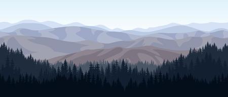 vector de bosque de las montañas rocosas de textura de fondo sin fisuras patrón Ilustración de vector