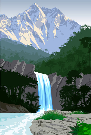 vector beautiful waterfall in jungle rainforest mountains