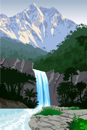 jungla: vector hermosa cascada en las montañas de la selva tropical de la selva