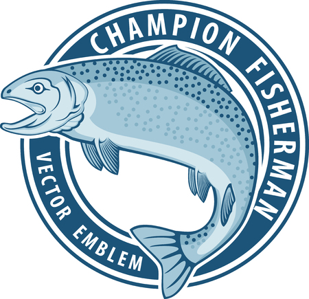 Vector fishing emblem label with salmon fish Vectores