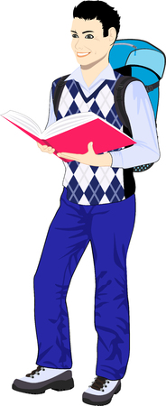 schoolboy: vector schoolboy wearing backpack and holding book