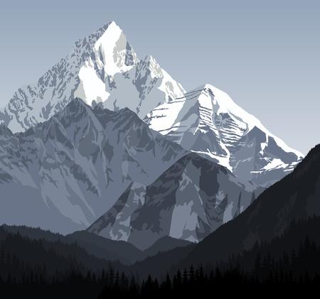 vector winter landscape in the Alps Vectores
