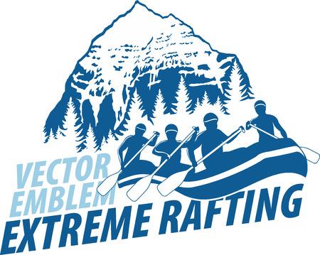vector rafting emblem label