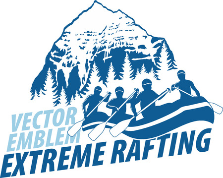 vector rafting emblem label
