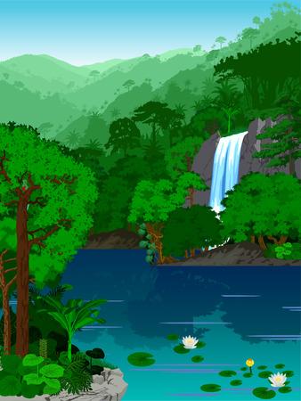 Vector Illustration rainforest jungle lake