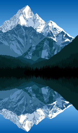 swiss alps: Vector lake in mountains Illustration