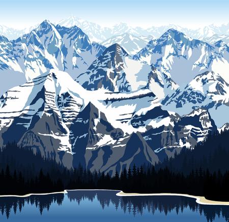 swiss alps: Wektor jezioro w górach Ilustracja