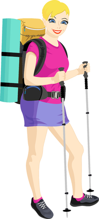 hiking: Hiking woman standing isolated. Female hiker with backpacking bag and hiking poles walking sticks. Vector illustration