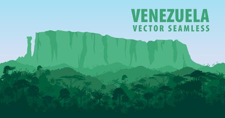 Vector Seamless panorama with Roraima tepui in Jungle Rainforest - Venezuela, South America Vectores