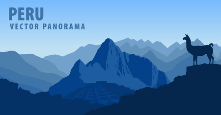 terraced: vector panorama of Peru, Machu Picchu with Llama