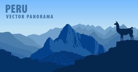 picchu: vector panorama of Peru, Machu Picchu with Llama