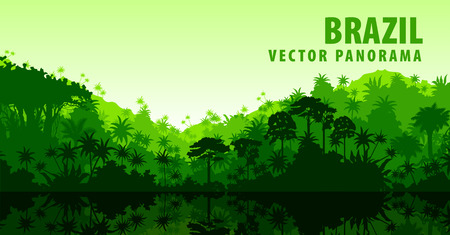 jungle: Vector panorama with Amazon river in Jungle Rainforest - Brazil, South America