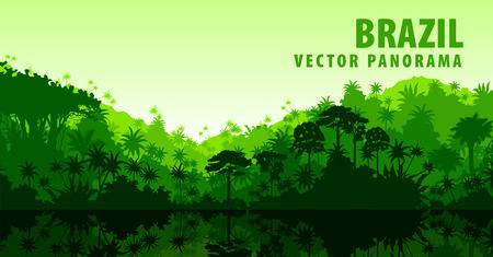 Wektor panorama z rzeki w dżungli Amazon Rainforest - Brazylii, Ameryce Południowej Ilustracje wektorowe