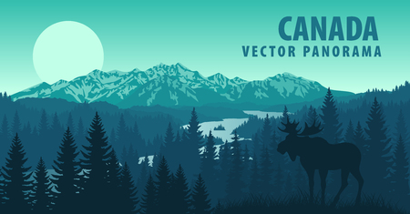vector panorama of Canada with forest and Moose Imagens - 52474127
