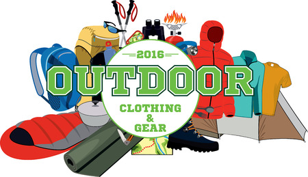 vector outdoor gear store emblem with type design and clothing and equipment Ilustração