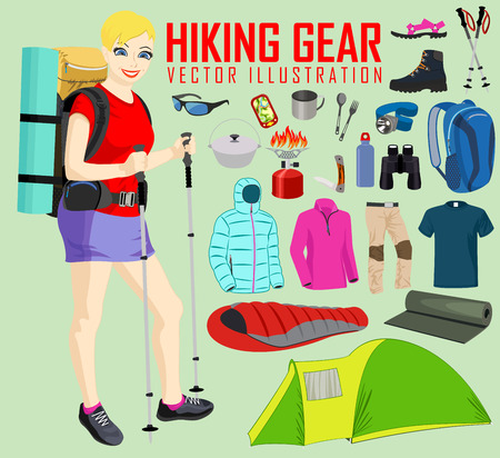 hiking: Hiking woman and Hiking and camping gear equipment
