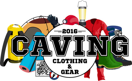 caving: vector caving gear store emblem with type design and equipment Illustration