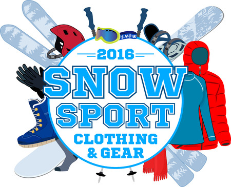 freeride: snowsport gear store emblem with type design and clothing and equipment