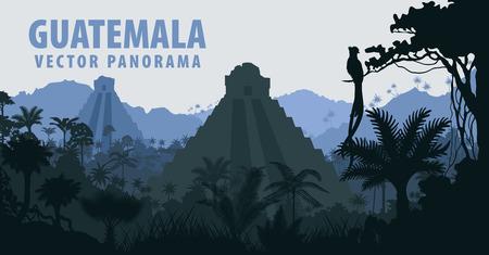 Panorama with Tikal pyramid in Guatemala Jungle Rainforest Illustration