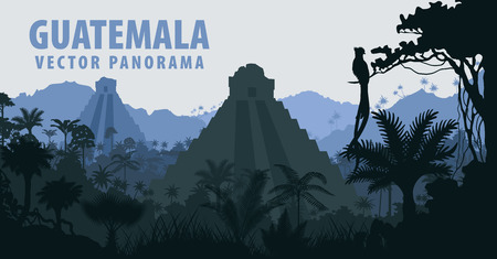Panorama with Tikal pyramid in Guatemala Jungle Rainforest Illustration