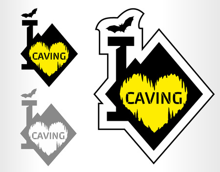 caving: caving emblem labels with cave. I love caving. Illustration