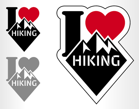 hiking: hiking emblem labels with mountains. I love hiking