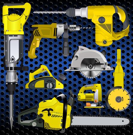 sawdust: set of power tools Illustration