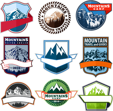 set of mountain adventure camping expedition badges emblem Ilustrace