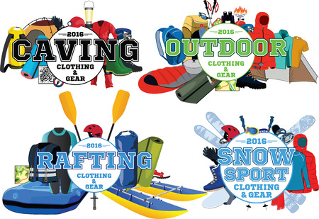 outdoor rafting caving snowsport gear store emblem set