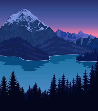 山の夜の湖