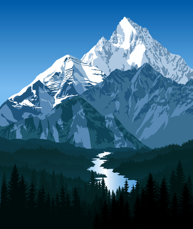 swiss alps: morning in beautiful mountains with river Illustration