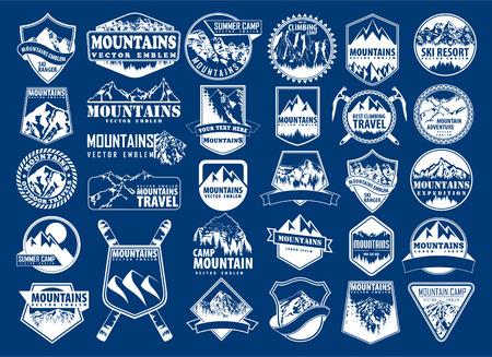 mountain icon emblem set with type design