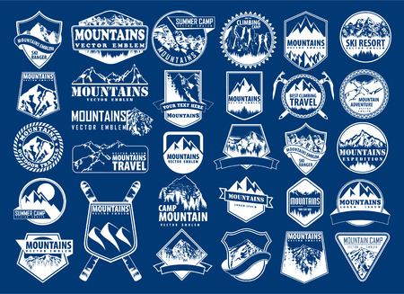 mountain icon emblem set with type design