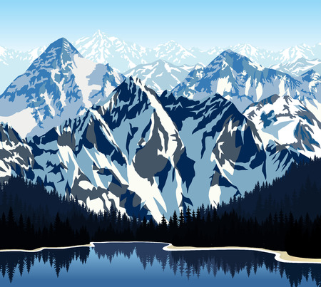 lake in mountains  イラスト・ベクター素材