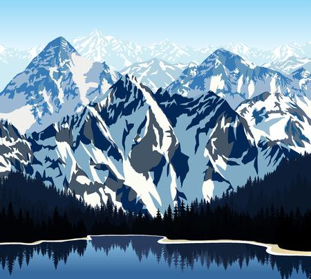 himalaya: lake in mountains Illustration