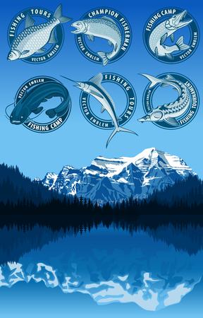 marline: set of fishing emblems with catfish, carp, salmon fish, marlin, pikefish