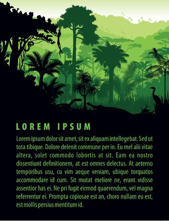 rainforest animals silhouettes in sunset design template