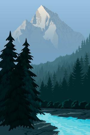 川と山の朝