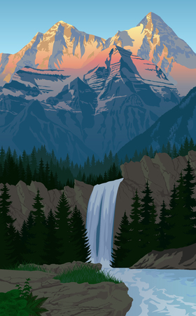 waterfall in evening mountains