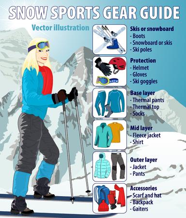 peak hat: Winter snow sports gear guide infographic illustration