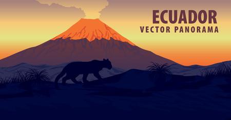 Panorama gór Ekwadoru i wulkan