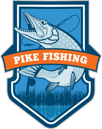 pike: emblem with fish pike
