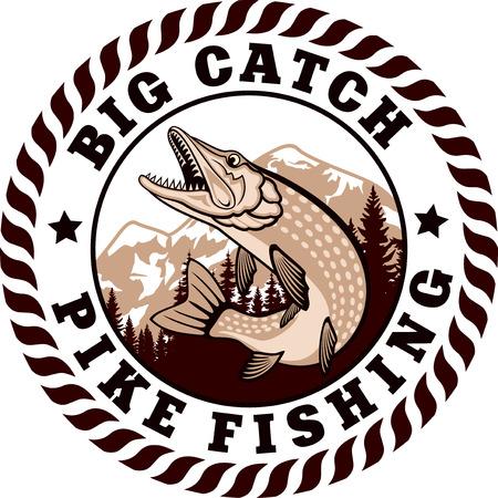 emblema con luccio pesce Vettoriali