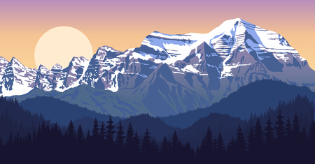 evening mountains landscape