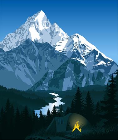 Ochtend in bergen kamp Stock Illustratie
