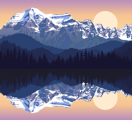 swiss alps: evening lake in mountains Illustration