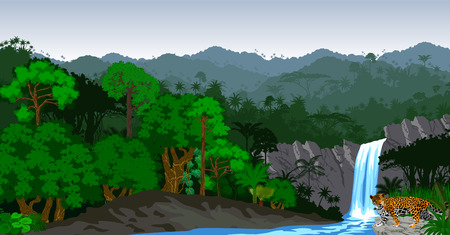 Jungle Rainforest with waterfall and jaguar