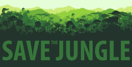 horizontal tropical rainforest Jungle backgrounds Illustration