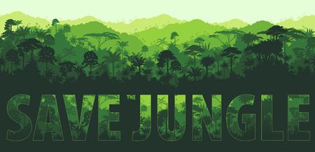 tropical rainforest: horizontal tropical rainforest Jungle backgrounds Illustration